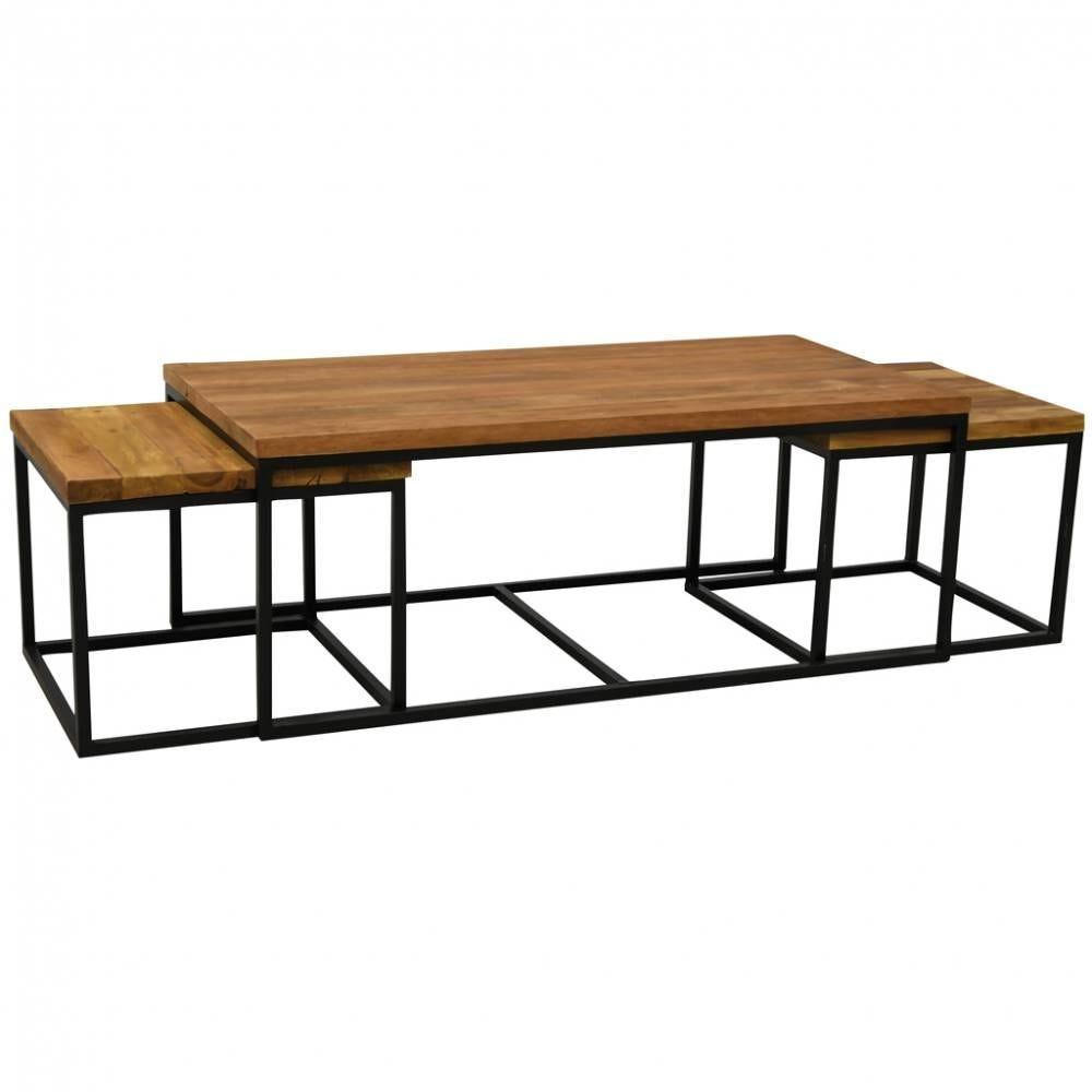 Table basse modulable en bois recyclé 1 table 120x60x45 + 2 tables 50x50x40