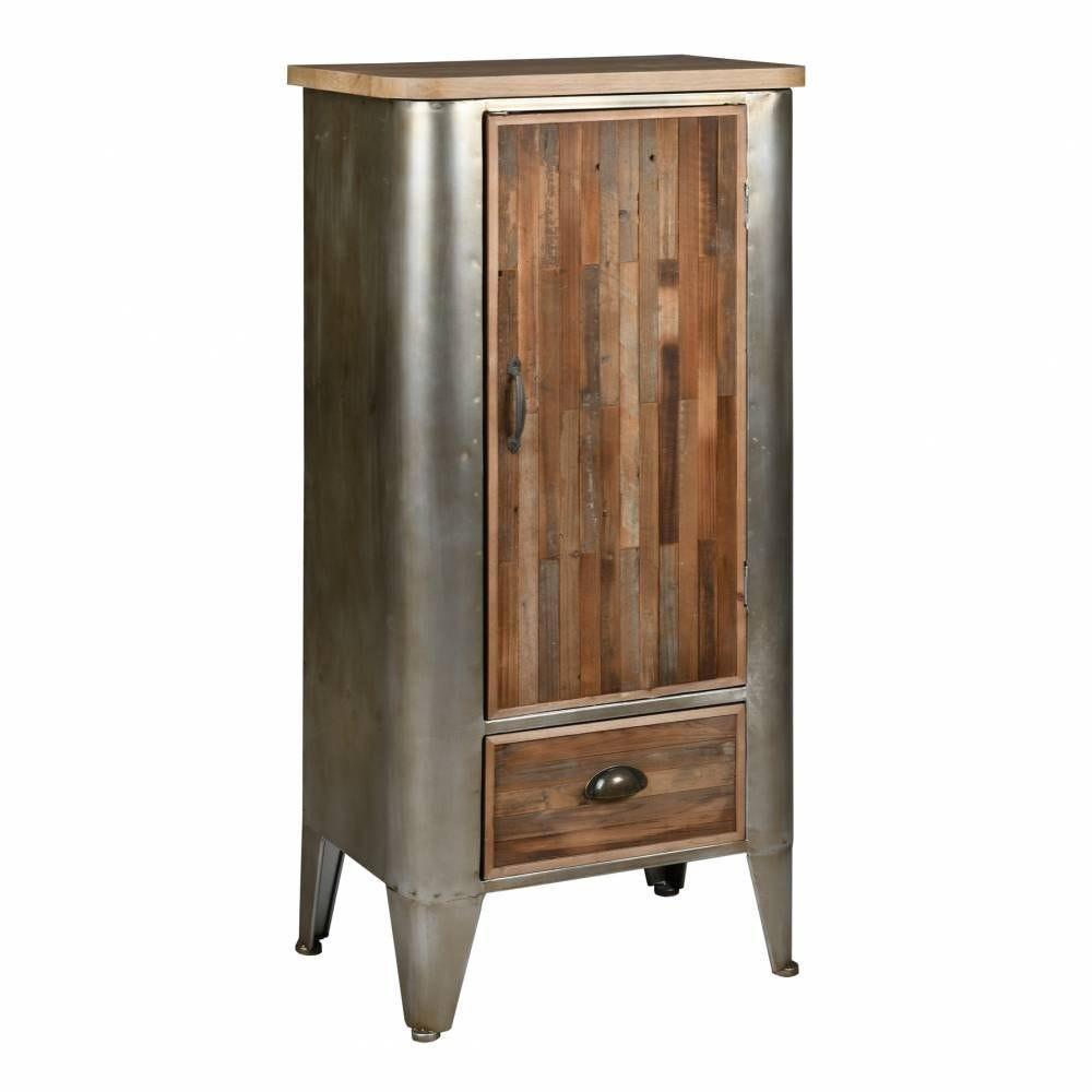 Armoire en bois et métal  54x34,5x111