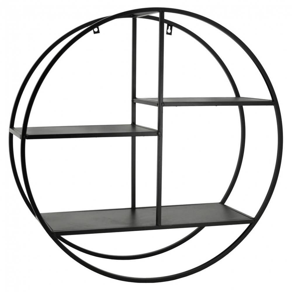 Étagère murale ronde en métal noir  Ø67x22