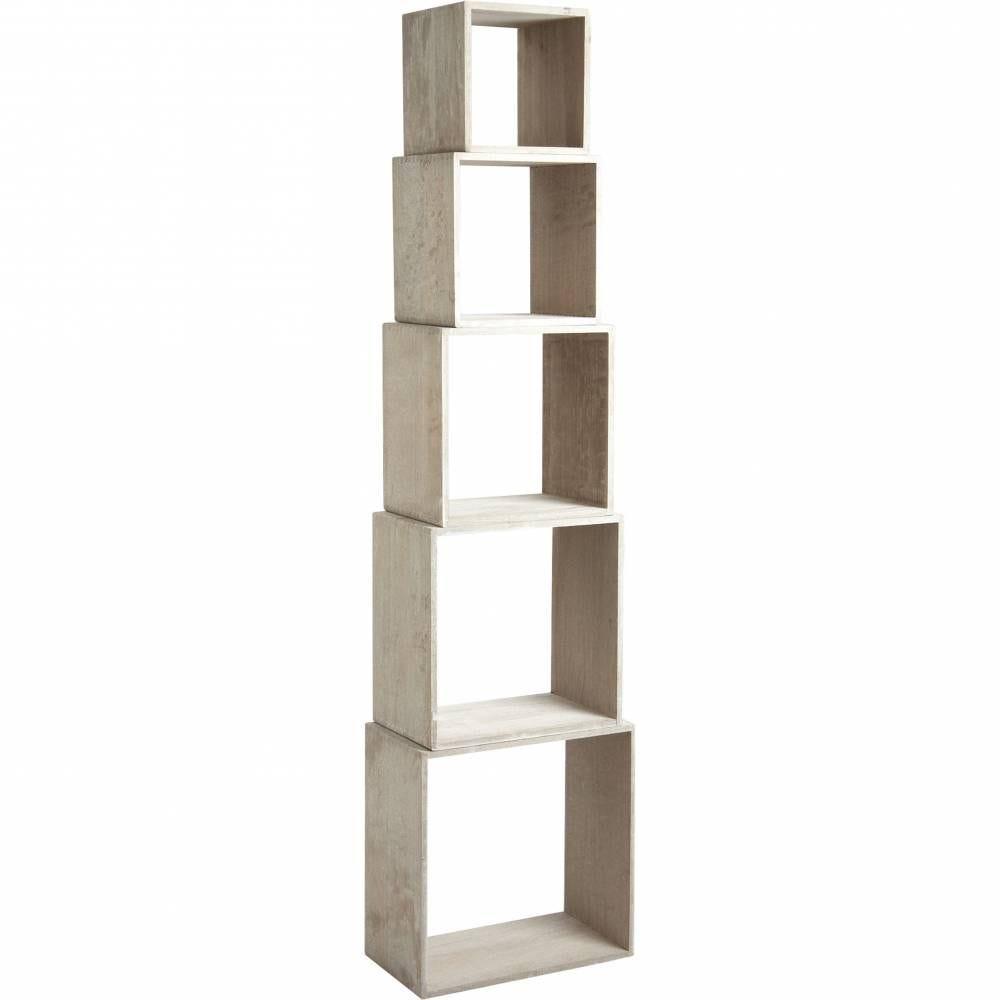 5 étagères en paulownia  25x25x25 à 45x45x25
