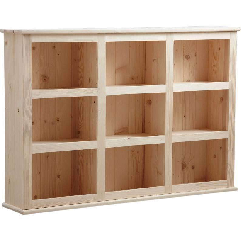 Etagère en bois brut 9 casiers  130x26x90