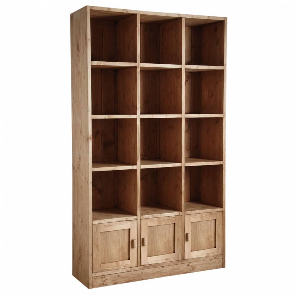 Etagère 12 cases 3 portes en épicéa ciré miel  119x40x205