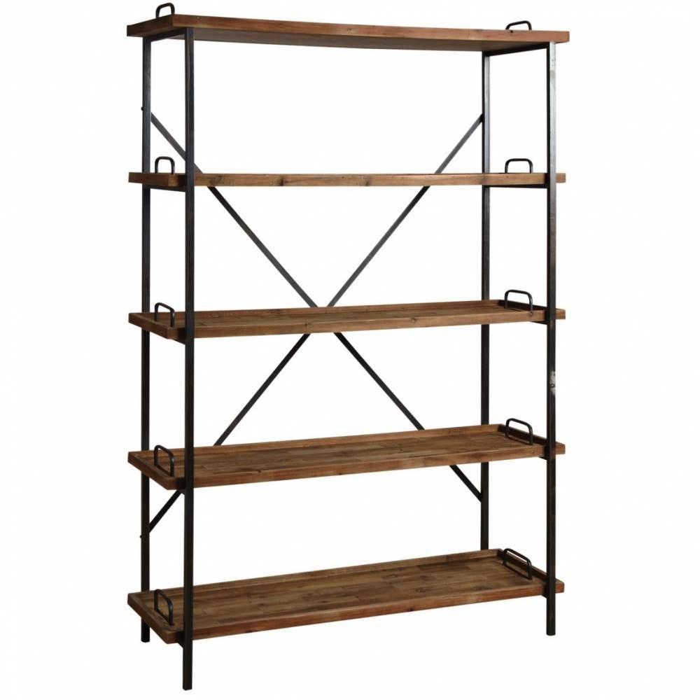 Etagère 5 niveaux en bois et métal  117x40x184,5