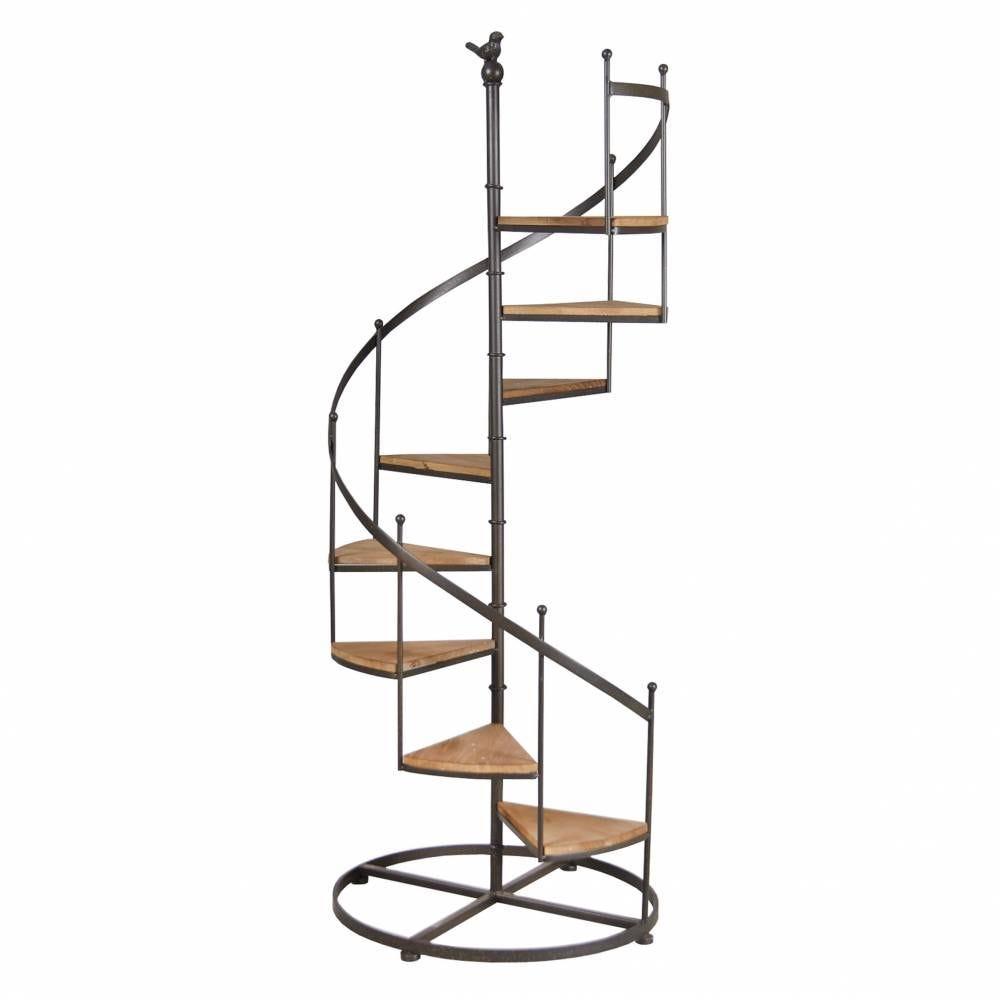 Étagère escalier en métal et bois, 8 niveaux  53x53x135