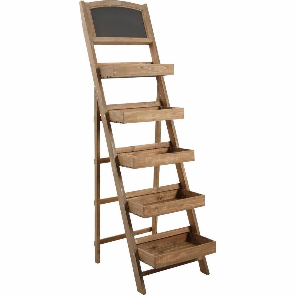 Présentoir en bois + tableau noir  50x84x174