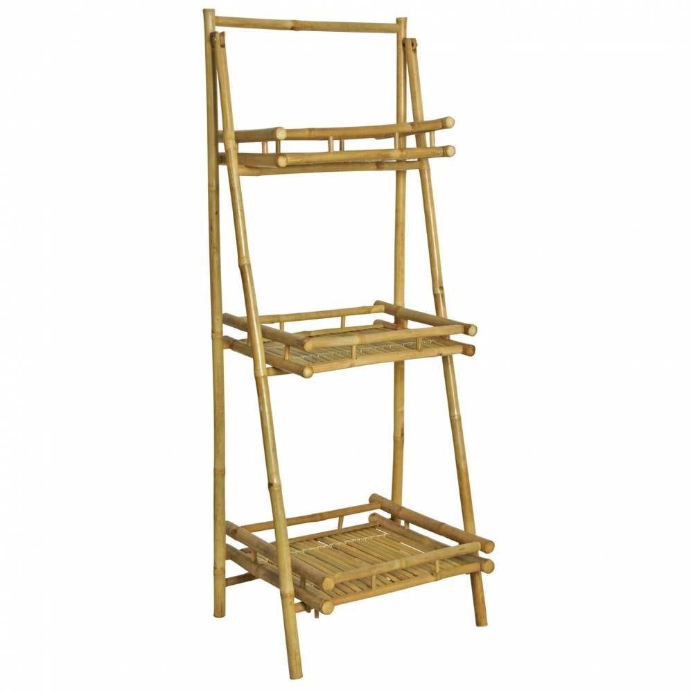 Présentoir pliant en bambou 56x50x145