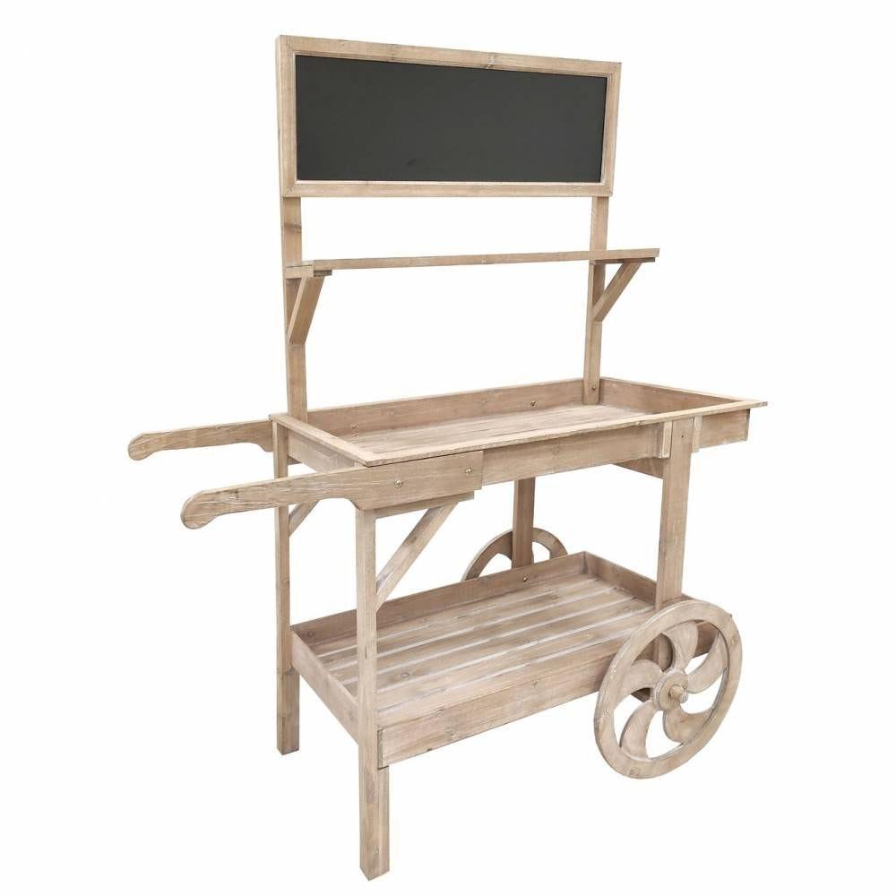 Chariot de présentation en bois antique 112x59x144