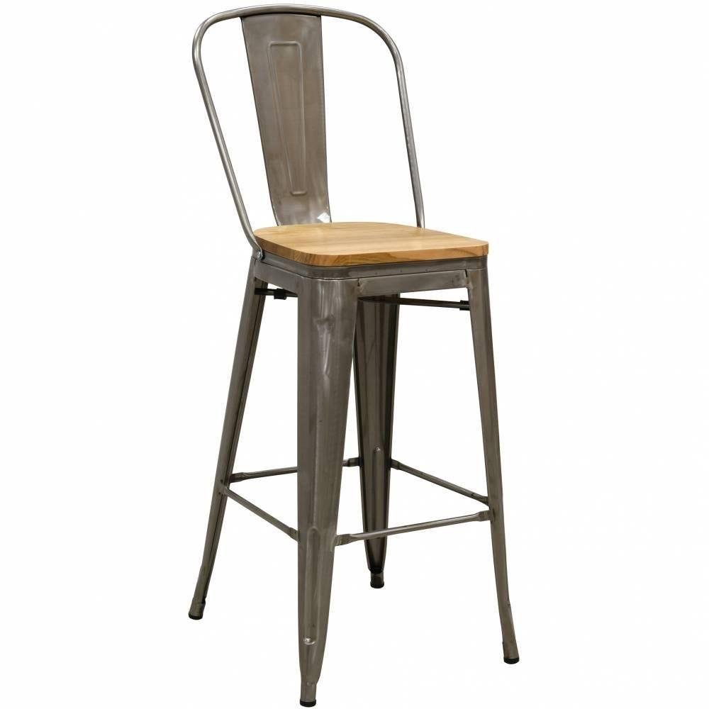 Tabouret de bar haut dossier en acier brossé et bois d'orme huilé 50x58x108