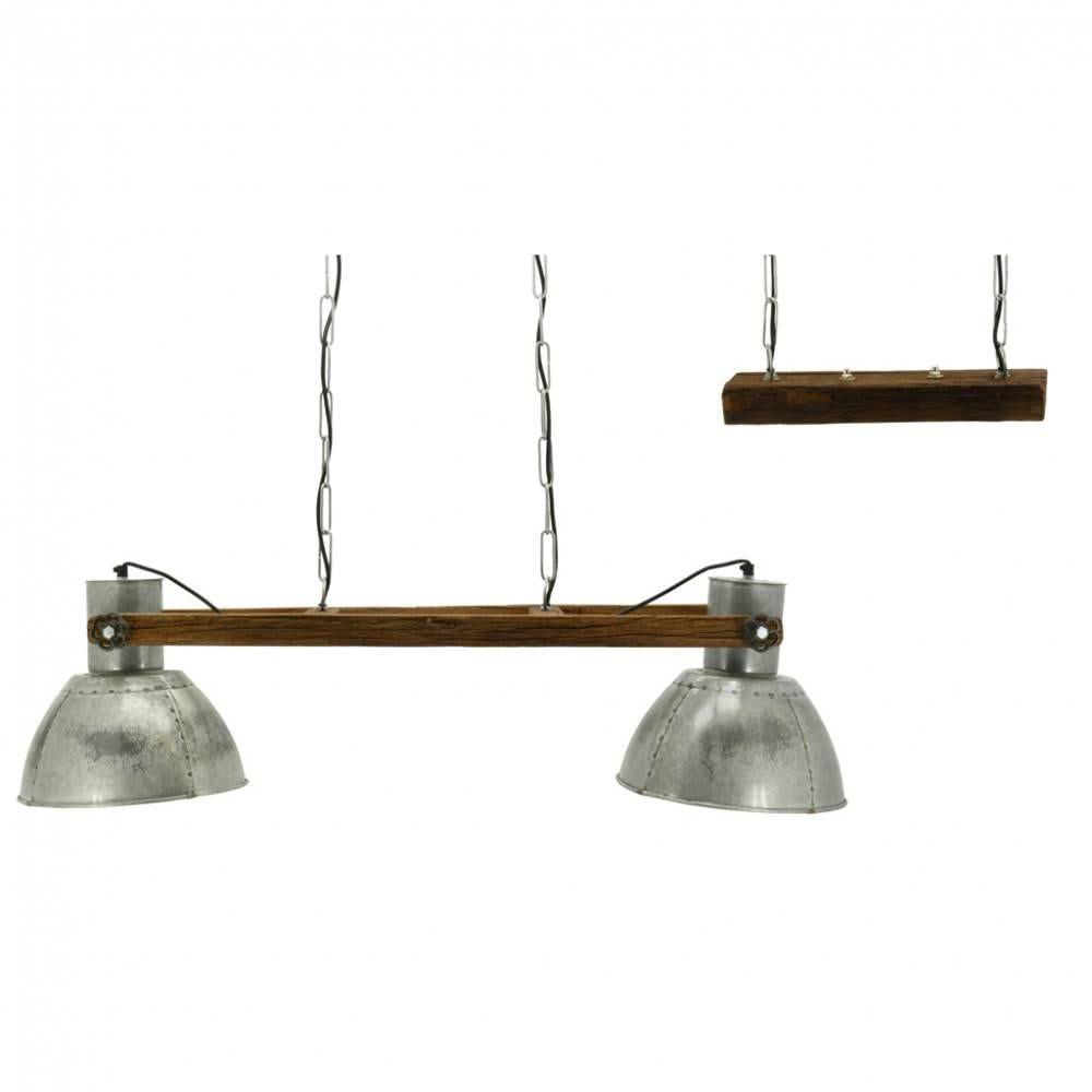Suspension 2 lampes en bois recyclé et métal