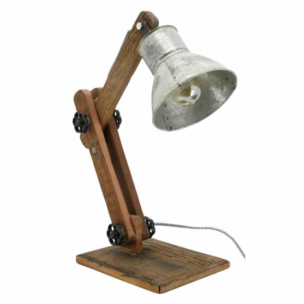 Lampe à poser en bois recyclé et métal Archi