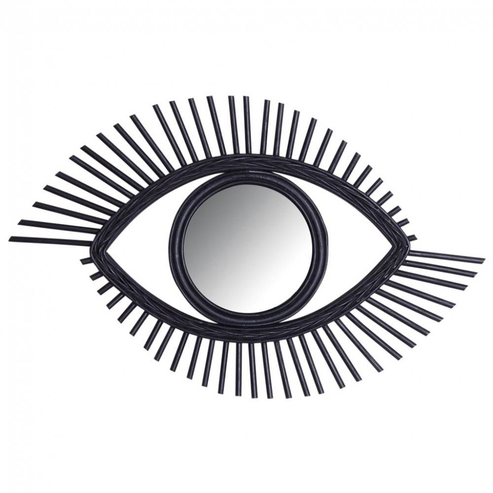 Miroir oeil en rotin noir