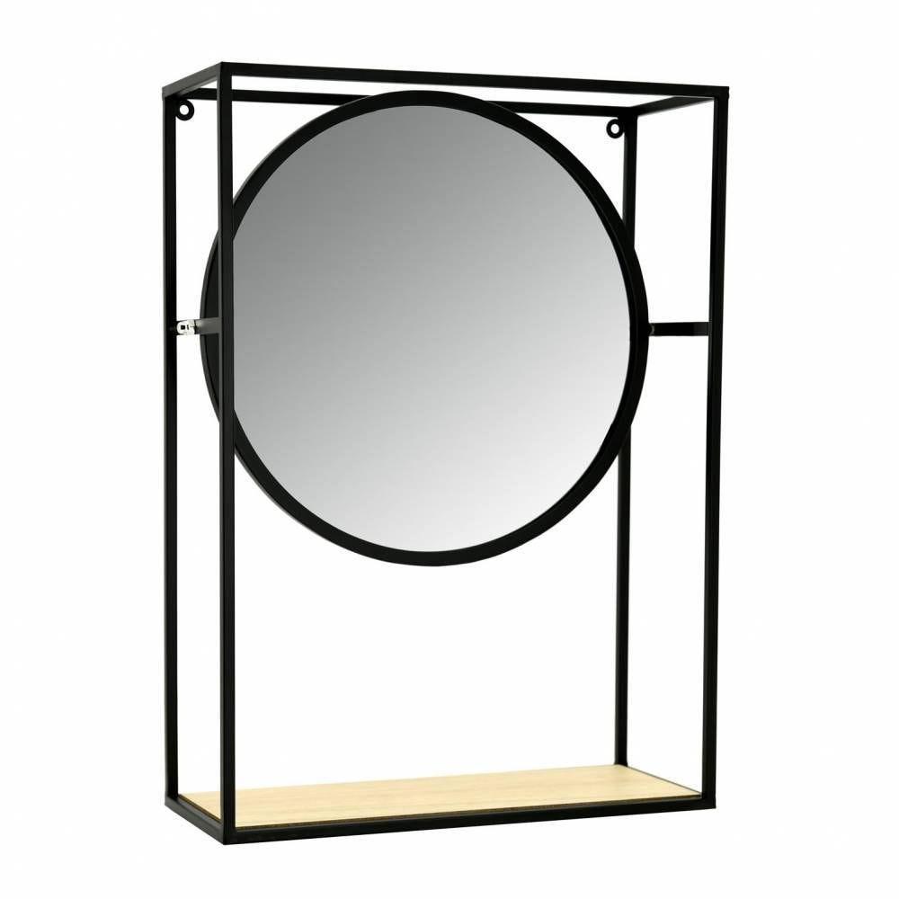 Miroir étagère en métal, verre et bois
