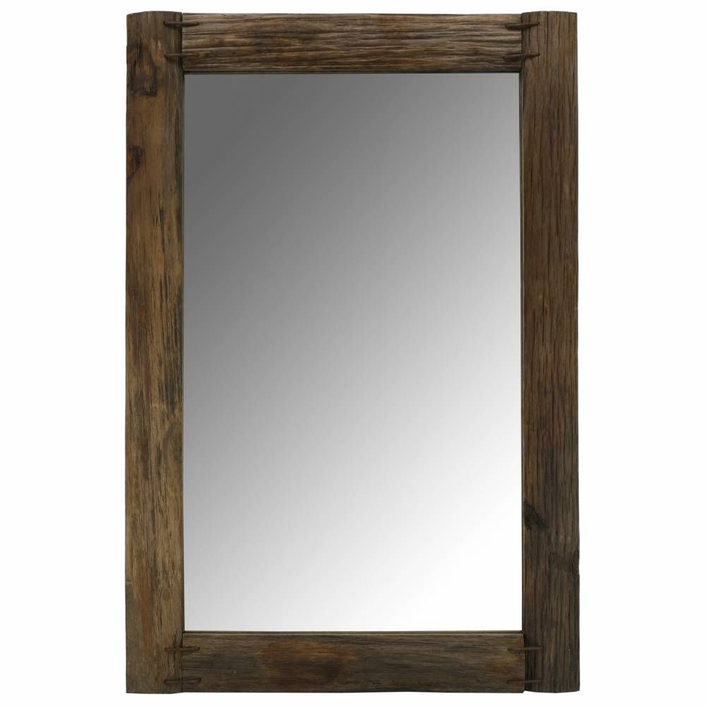 Miroir rectangulaire en bois recyclé rustique