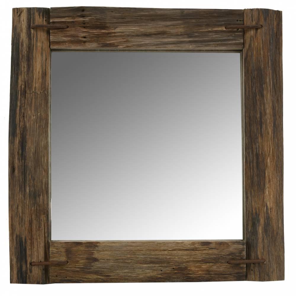 Miroir carré en bois recyclé rustique