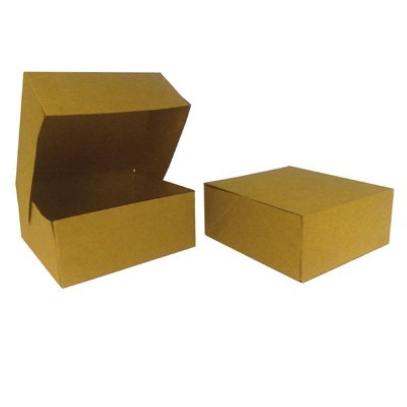 Boîte pâtissière carton kraft brun 20 x 20 cm Par 25