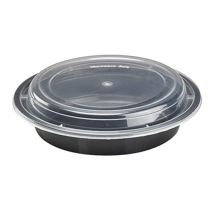 Bol PP rond noir avec couvercle transparent 15,5 cm 50 cl Par 50
