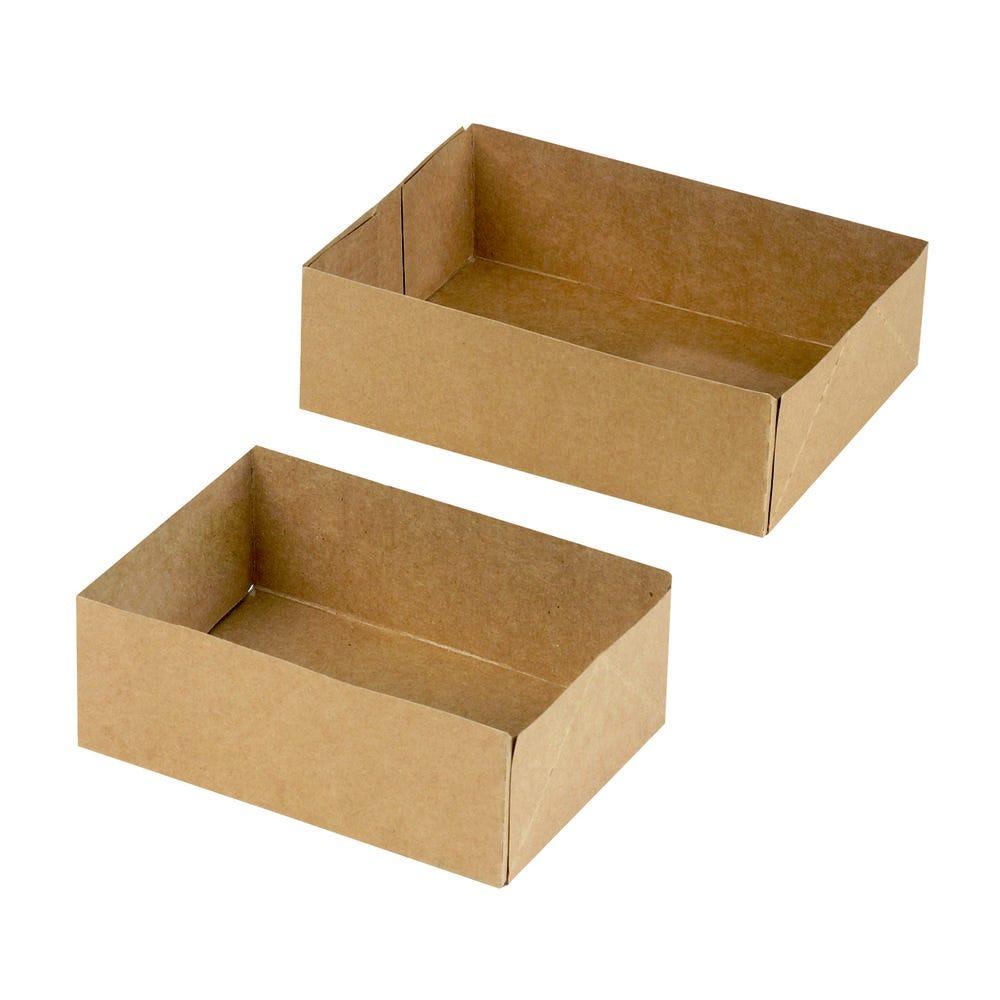 Boîte pâtissière carton brun sans couvercle 16 x 12 cm Par 25