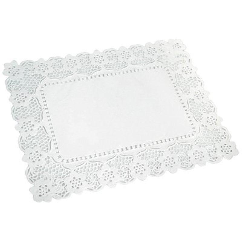 Dentelle papier blanc rectangulaire motif fleurs 40 x 30 cm Par 250