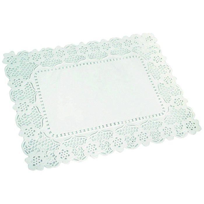 Dentelle papier blanc rectangulaire 40 x 30 cm Par 250