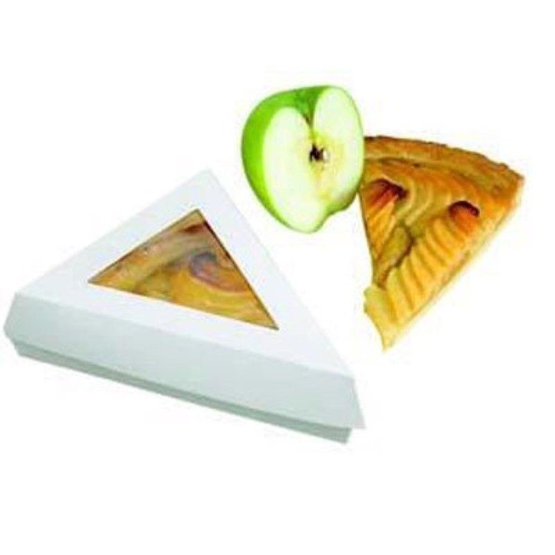 Boîte pâtissière triangulaire carton blanc avec couvercle à fenêtre 12,8g Par 50