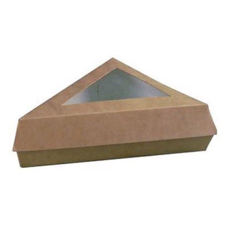 Boîte pâtissière triangulaire carton brun avec couvercle à fenêtre 12,6g Par 50