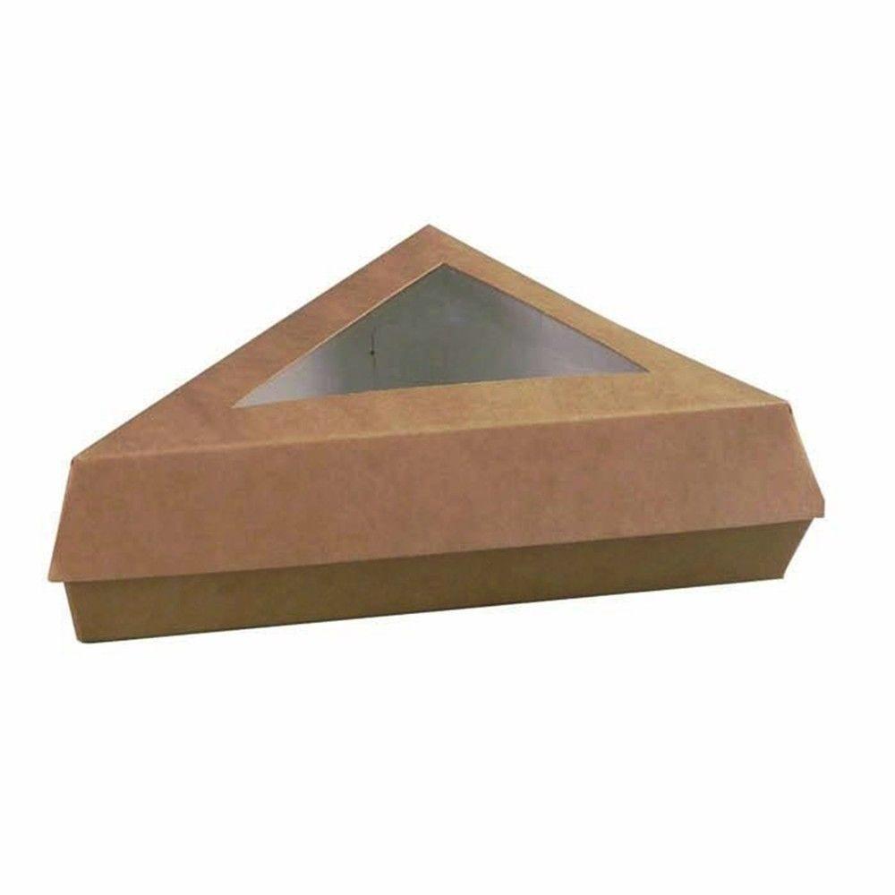 Boîte pâtissière triangulaire carton brun avec couvercle 14,38g Par 25