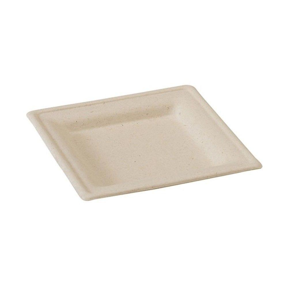 Assiette carrée brune en pulpe 16 cm Par 25