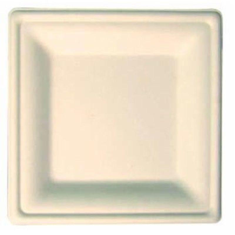 Assiette carrée blanche en pulpe 16 cm Par 50
