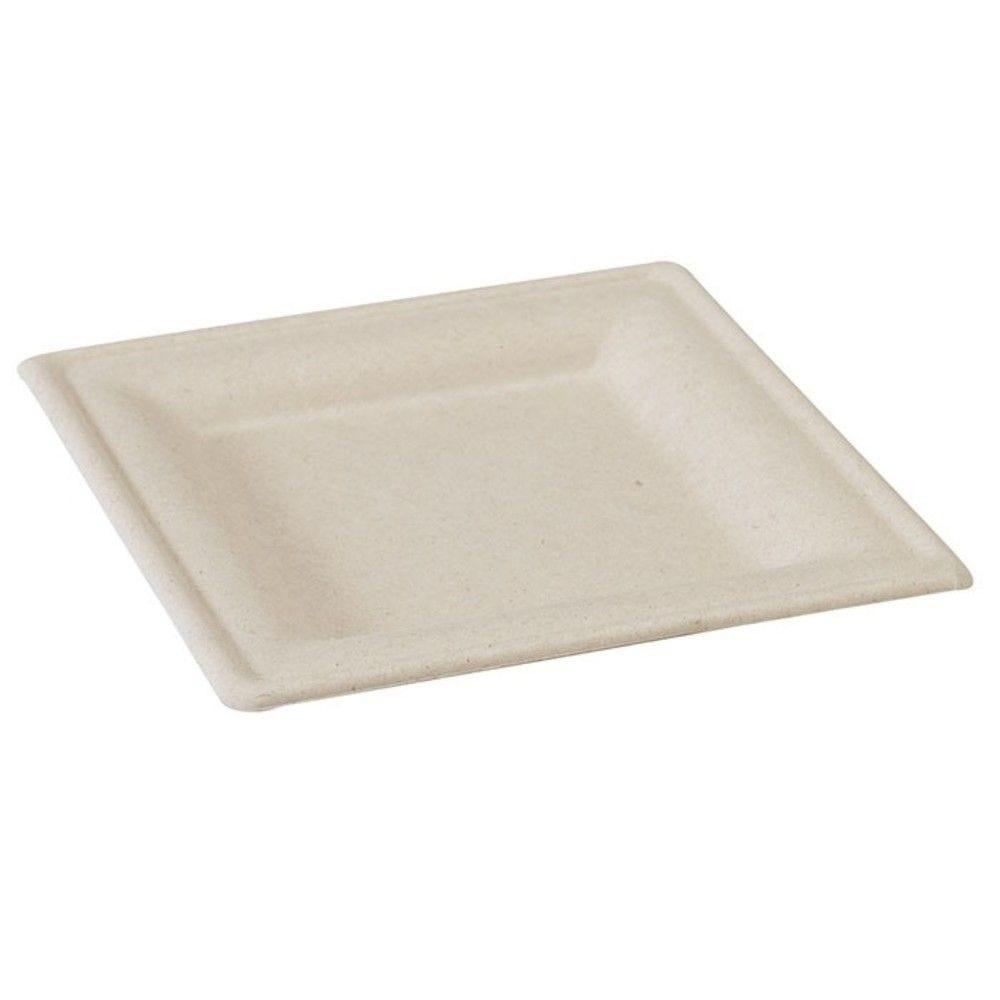 Assiette carrée brune en pulpe 20 cm Par 25