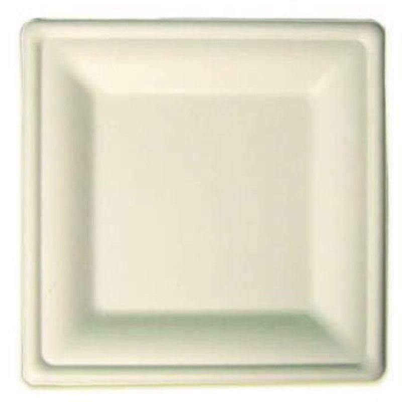 Assiette carrée blanche en pulpe 20 cm Par 50