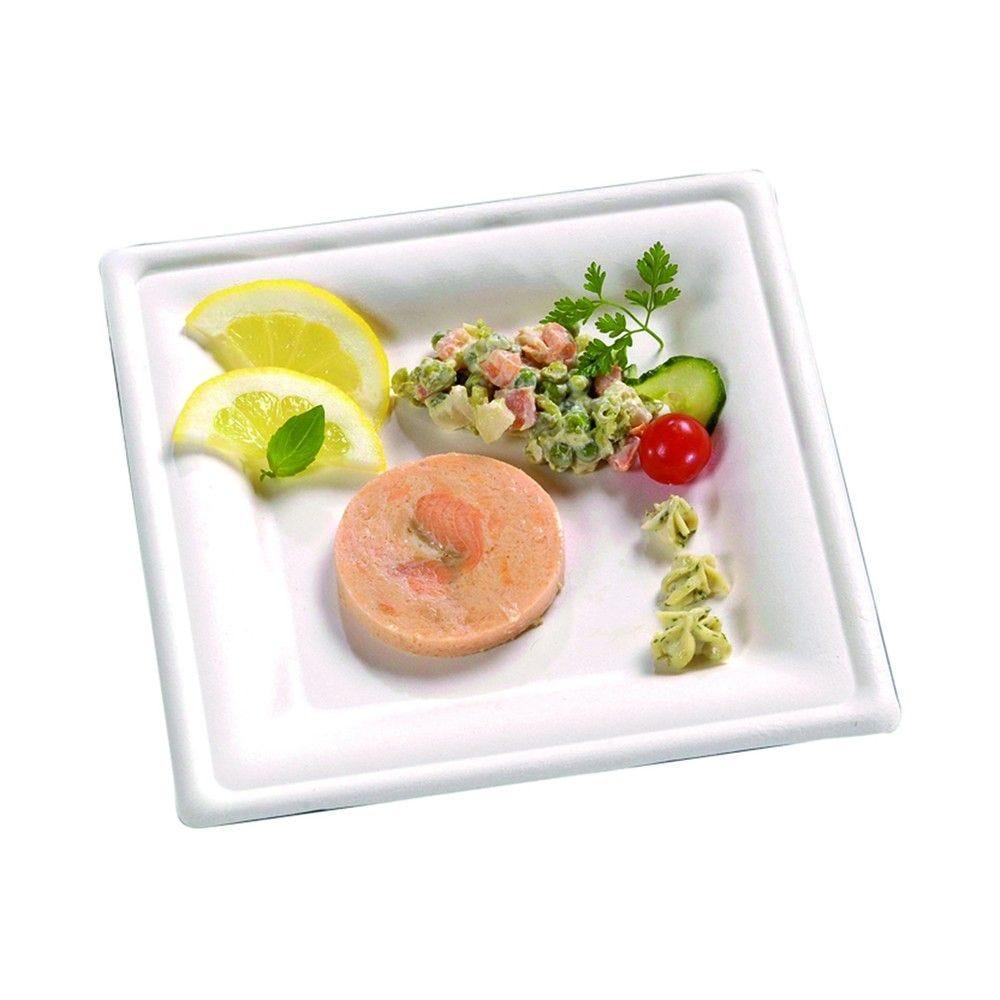 Assiette carrée blanche en pulpe 20,5 cm Par 50