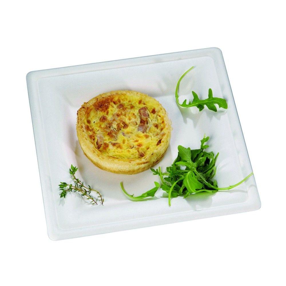 Assiette carrée blanche en pulpe 25,5 cm Par 50