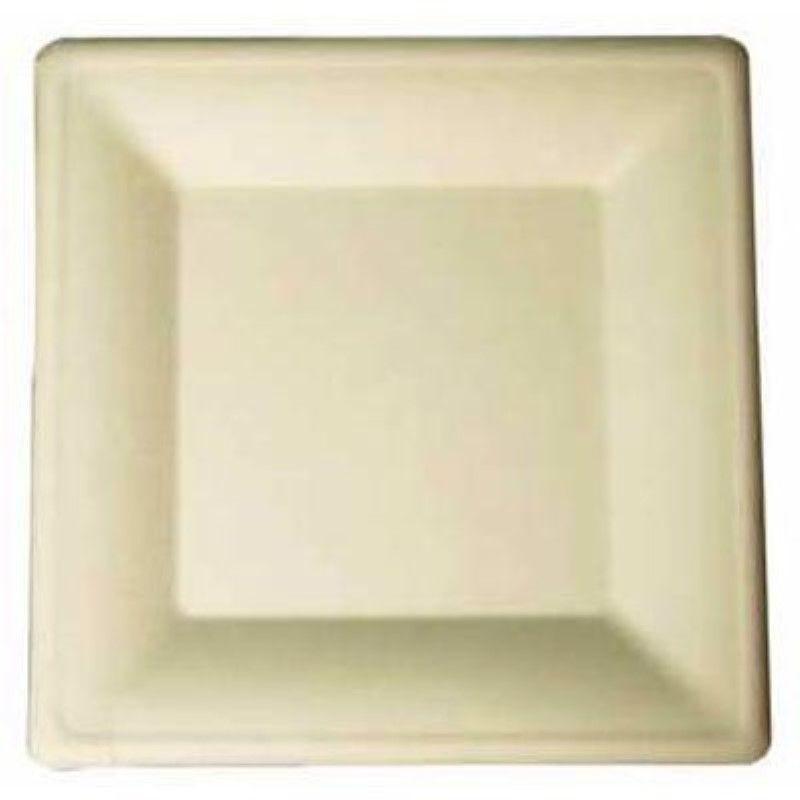 Assiette carrée blanche en pulpe 26 cm Par 25