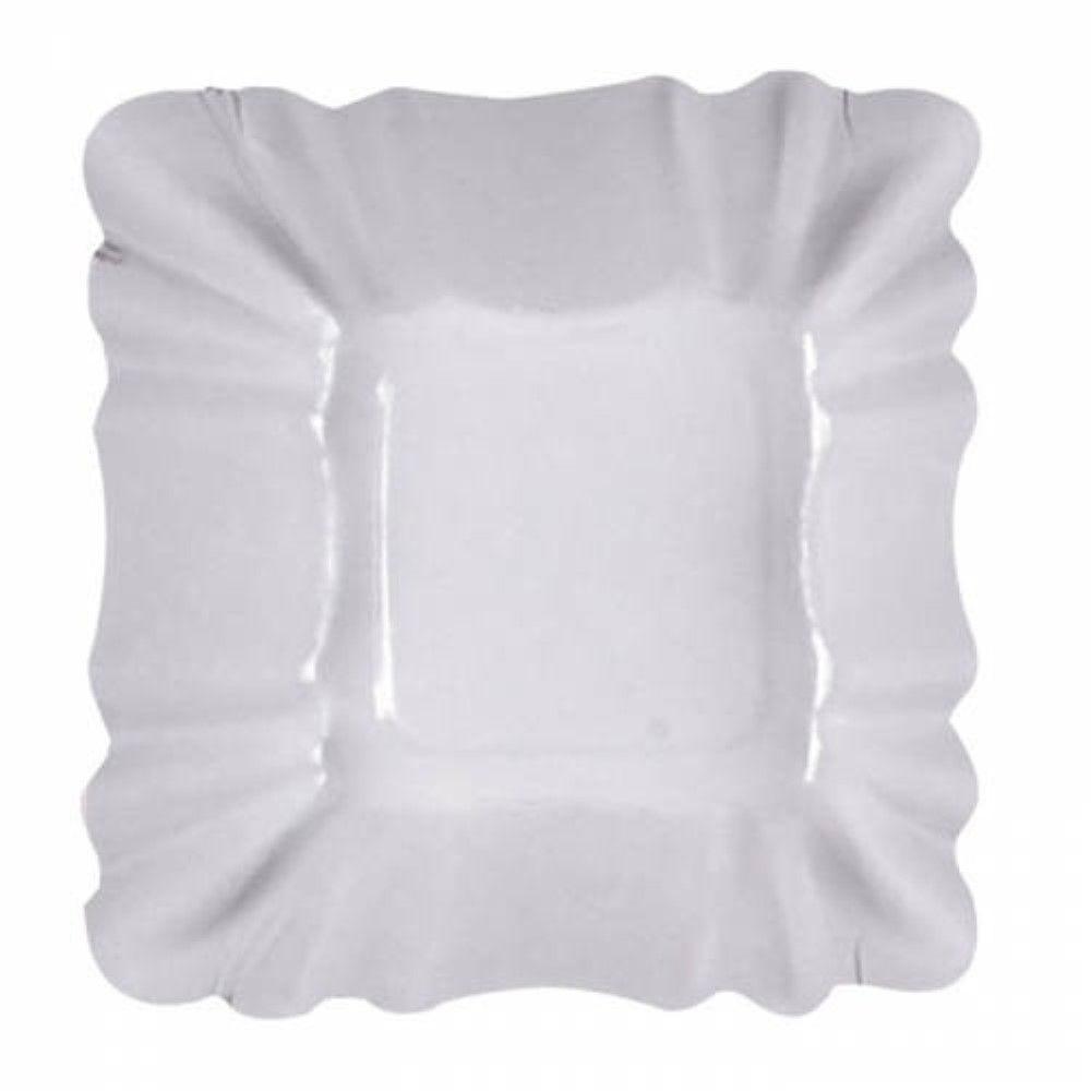 Assiette creuse carrée en carton laminé blanc 9 cm Par 250