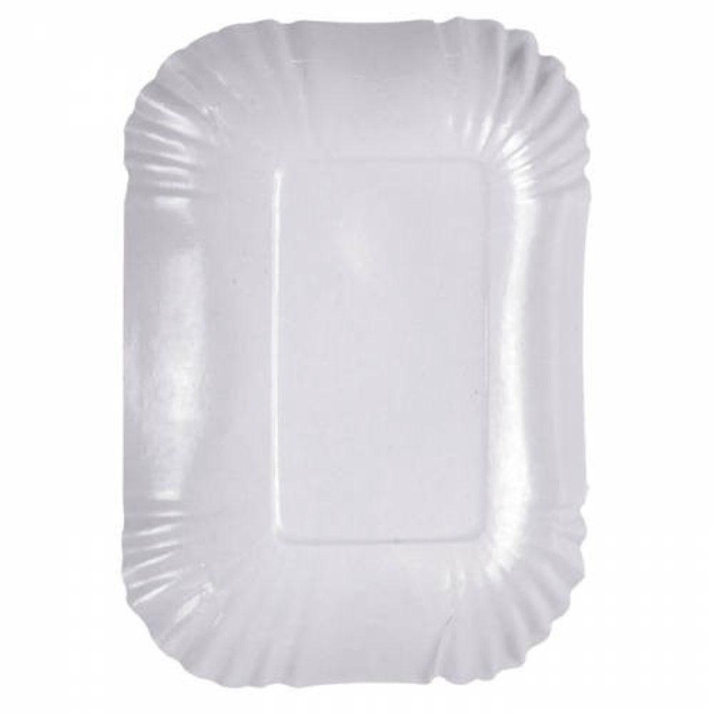 Assiette creuse rectangulaire en carton laminé blanc 18 cm Par 250