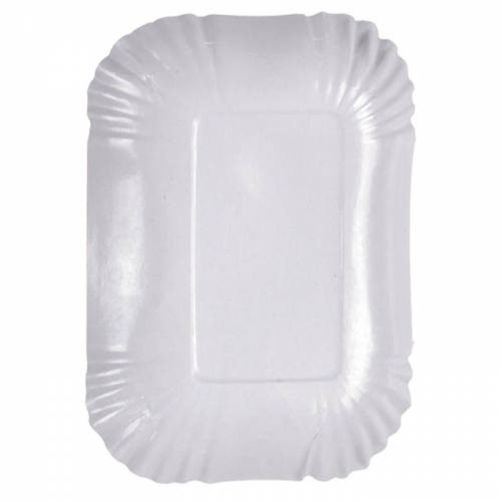 Assiette creuse ovale en carton laminé blanc 15 cm Par 250