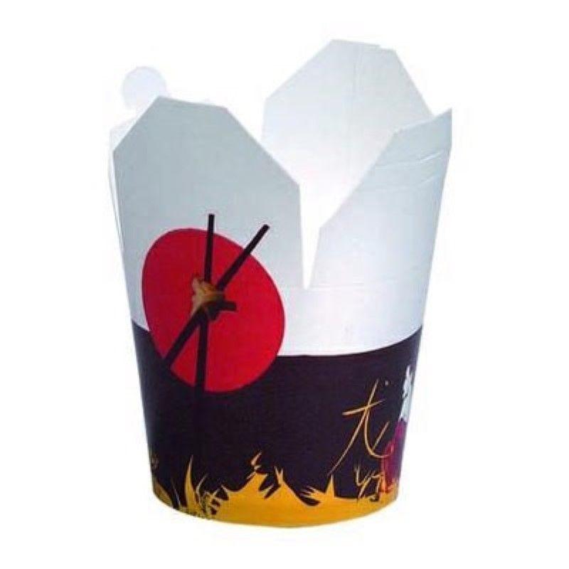 Pot carton blanc base ronde décor 'Asie' 75 cl Par 50