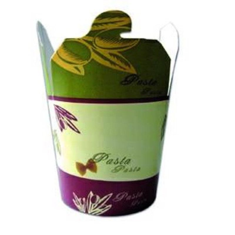 Pot carton blanc base ronde décor 'Pasta' 45 cl Par 50