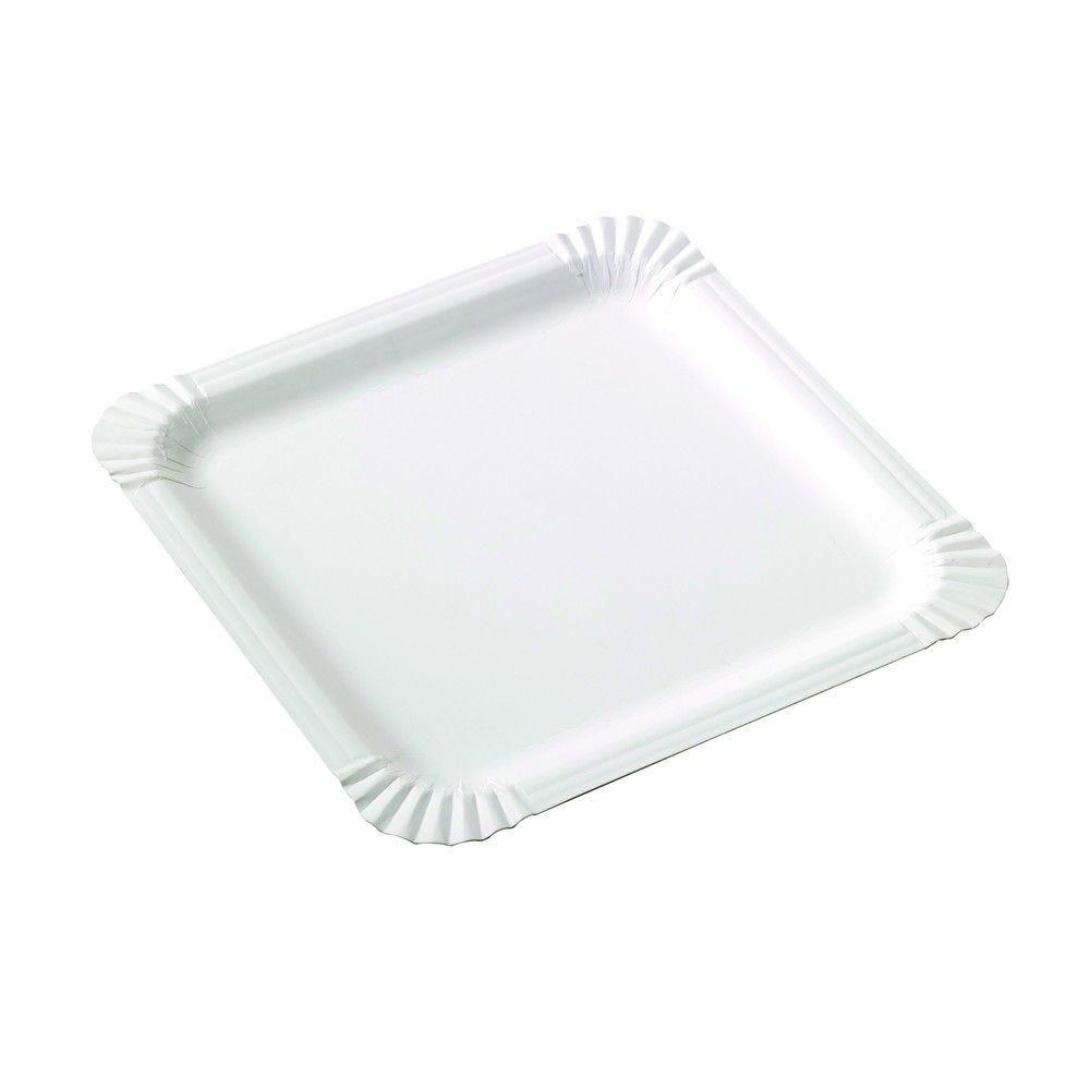 Assiette carrée en carton blanc 21 cm Par 250