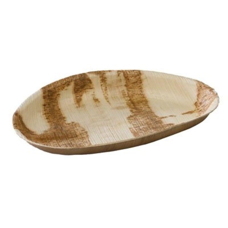 Assiette en palmier forme oeuf 26 cm Par 10