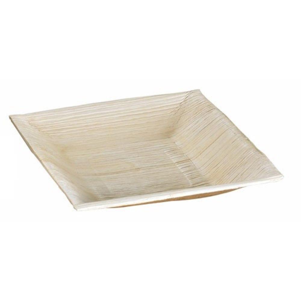 Assiette carrée angles droits en palmier 16,5 cm Par 6