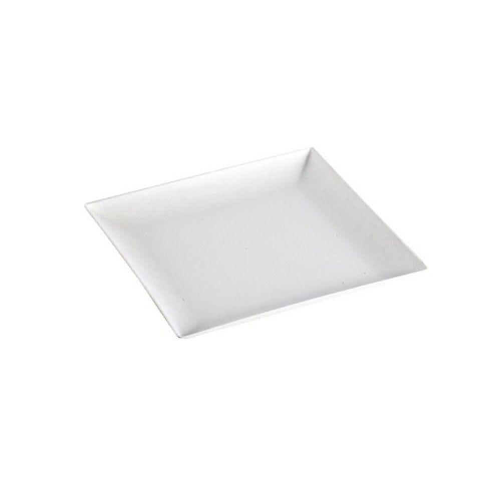 Assiette carrée blanche en pulpe 'BioNChic' 16 cm Par 100