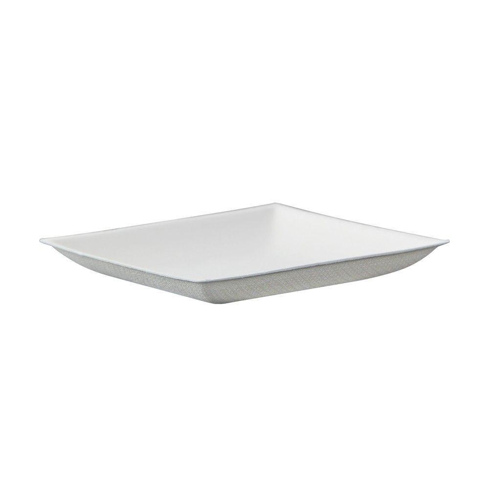 Assiette carrée blanche en pulpe 'BioNChic' 9 cm Par 100