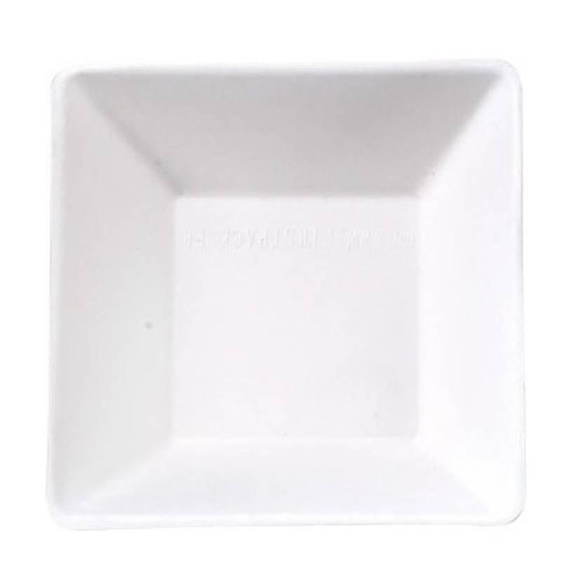 Assiette carrée blanche en pulpe 'Eco-Design' 13 cm Par 50
