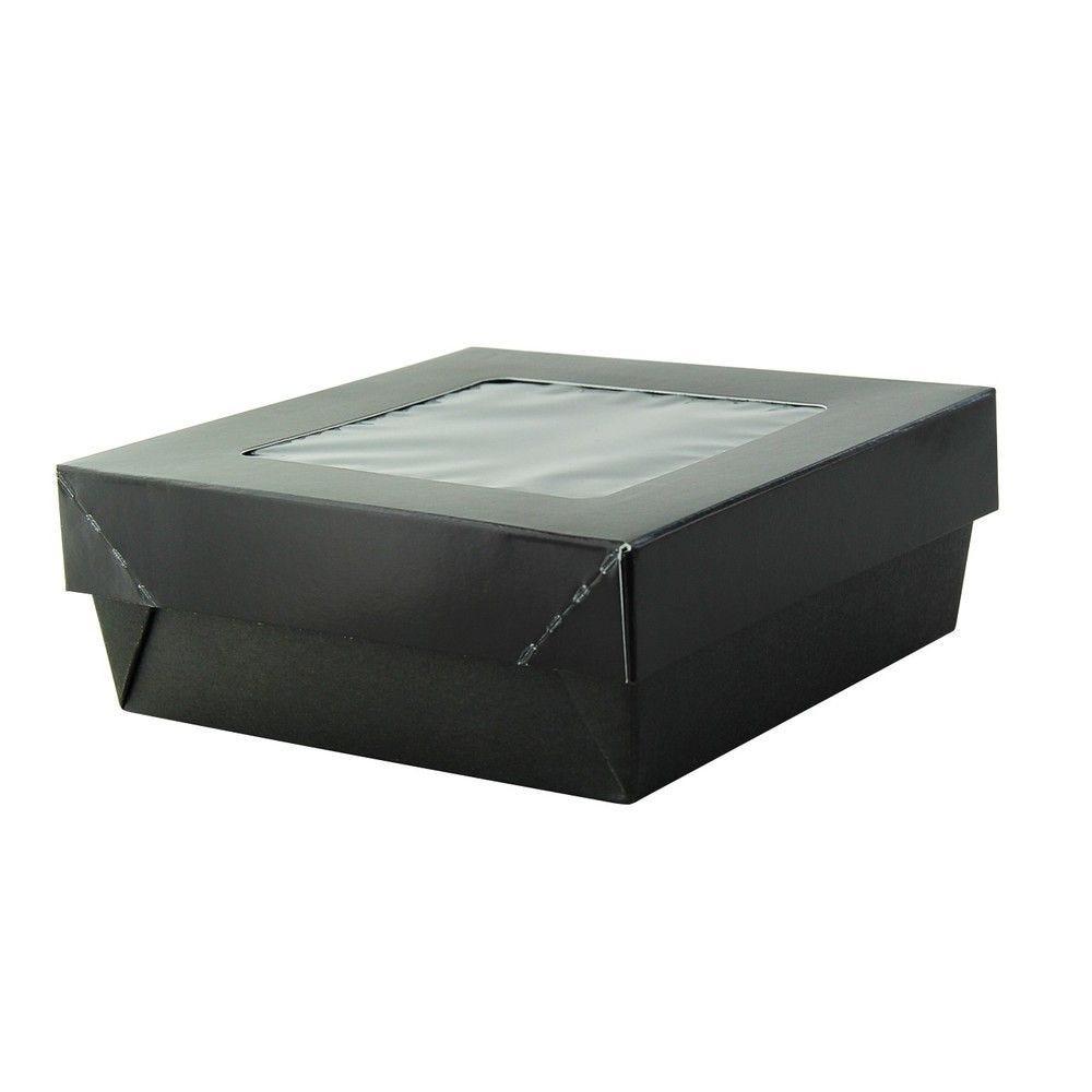 Boîte 'Kray' carrée carton noir avec couvercle à fenêtre 13,5 x 13,5 cm Par 25