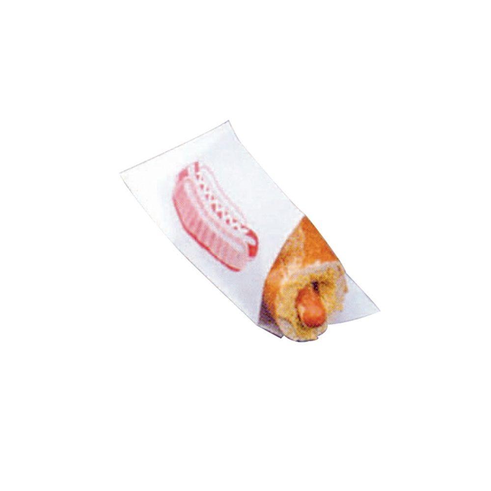 Sac papier blanc ingraissable pour hot dog ouvert sur 2 côtés 17 x 7,5cm Par 500
