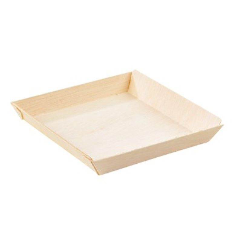 Barquette carrée en bois 'Samourai' 13 x 13 cm Par 100