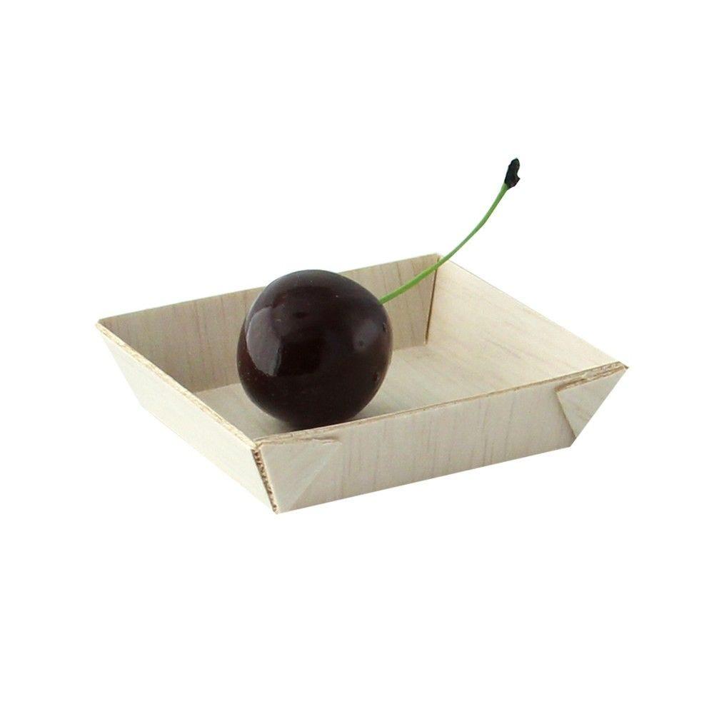 Barquette carrée en bois 'Samourai' 6 x 6 cm Par 20