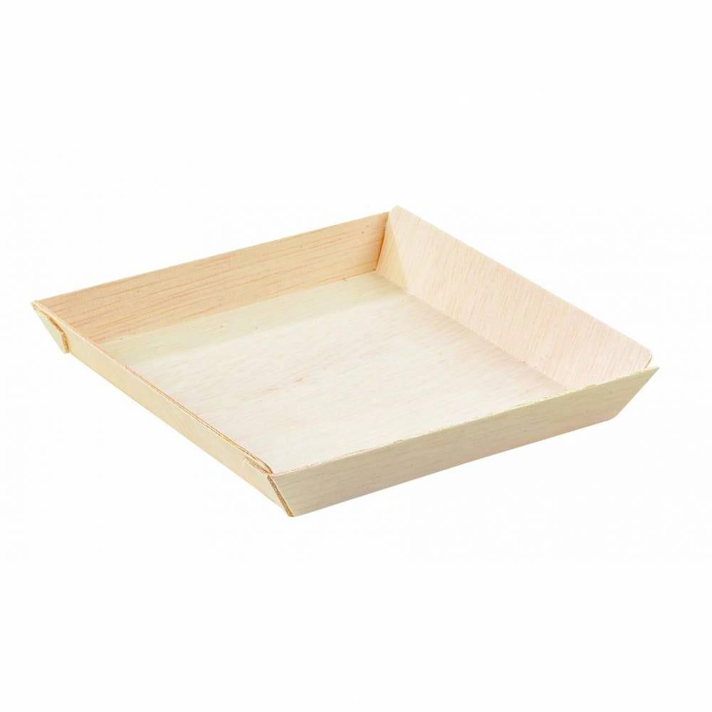 Barquette carrée en bois 'Samourai' 7 x 7 cm Par 20