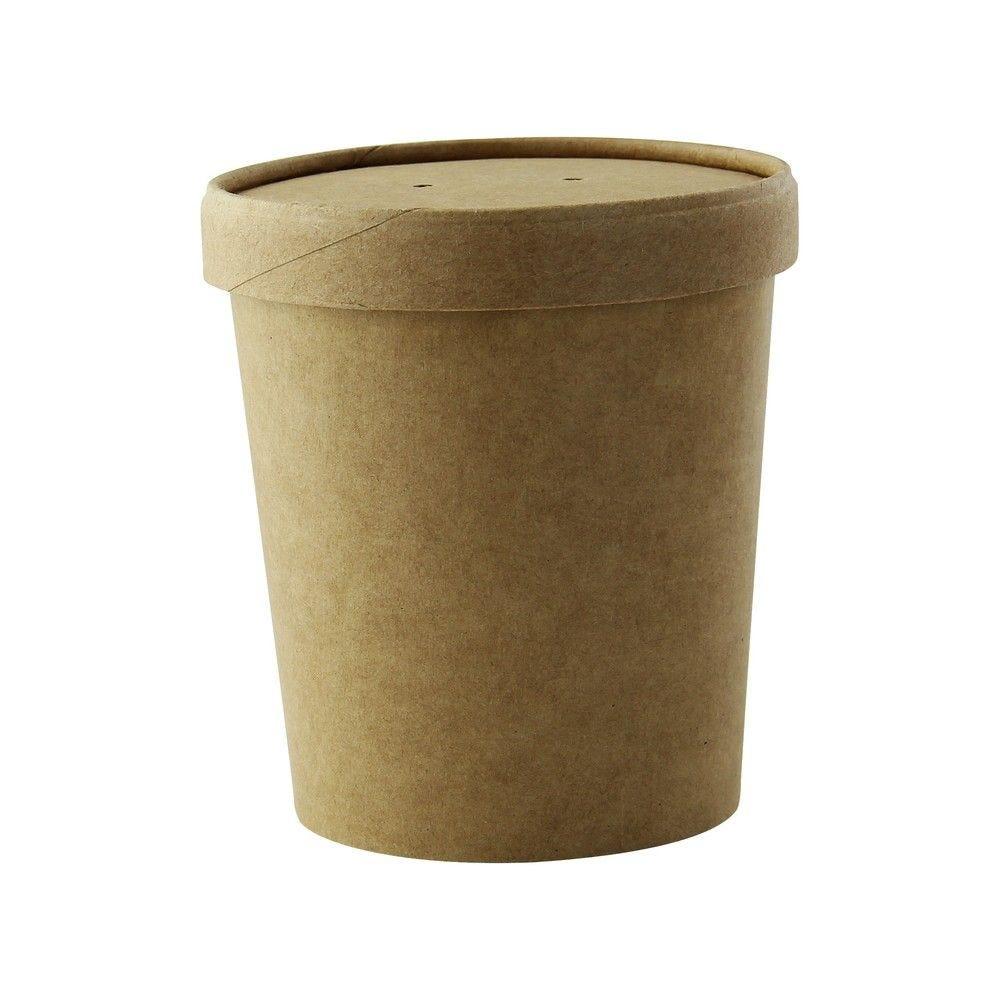 Pot carton brun chaud et froid avec couvercle carton 9,7 cm 49 cl Par 25